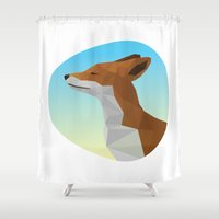 low poly Shower Curtains featuring Low-Poly fox by fortyfive
