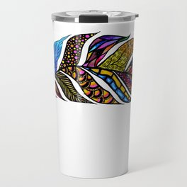 Colorful Watercolor Hand Drawn Tangle Feather Travel Mug