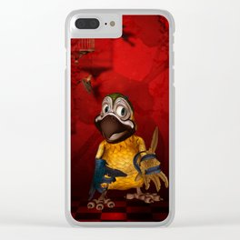 Funny, cute parrot Clear iPhone Case