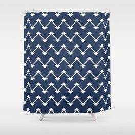 Jute in Navy Blue Shower Curtain