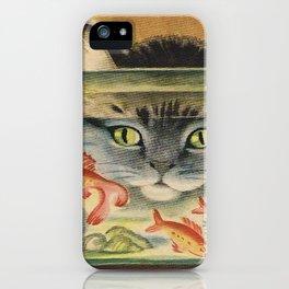 Cat Looking at Goldfish Vintage Art iPhone Case