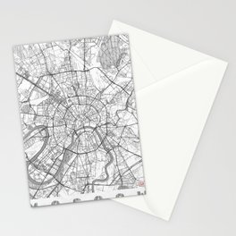 Moscow Map Line Stationery Cards