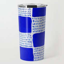 Blue Blocks Pattern Travel Mug