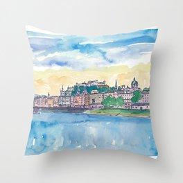 Salzburg Austria River Old Town and Castle Throw Pillow