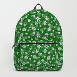 Festive Green and White Christmas Holiday Snowflakes Backpack