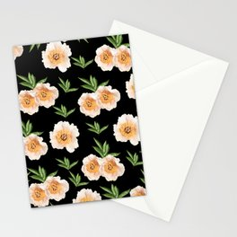 Peonies Flower Pattern on Black #1 #floral #decor #art #society6 Stationery Cards