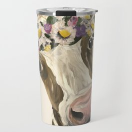 Cow Art, Flower Crown Cow Art Travel Mug