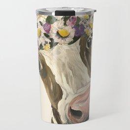 Cow Art, Flower Crown Cow Art Travel Mug