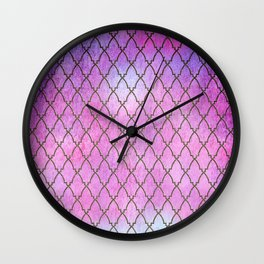 Purple and blue Quatrefoil with Gold Frame- Elegant Morrocan Watercolor Pattern Wall Clock