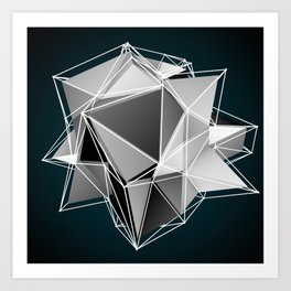 3d art black and white Art Print