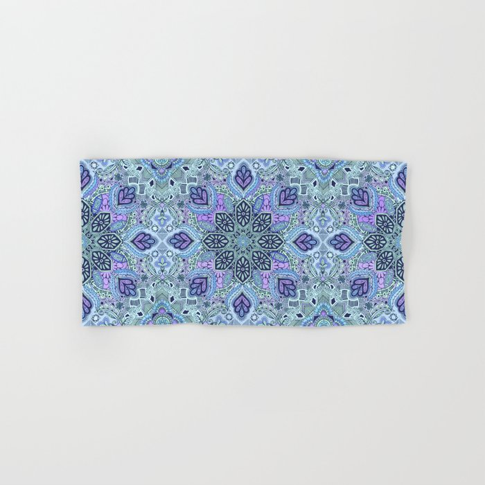 Navy Blue, Mint and Purple Boho Pattern  Hand & Bath Towel