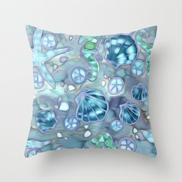 Batik Sea Life Illustration Throw Pillow