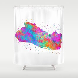 El Salvador Watercolor Map Shower Curtain