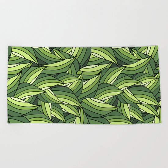 GREENERY LEAVES B  (abstract flowers nature) Beach Towel