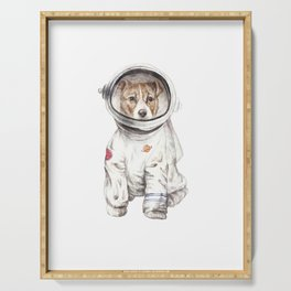 Laika Dog Watercolor Illustration Space Pup Serving Tray