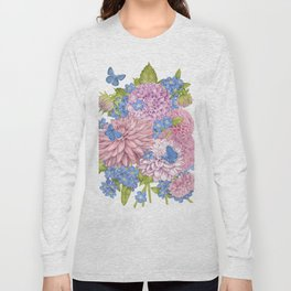 Dahlias and Forget Me Nots Long Sleeve T-shirt