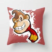 donkey kong Throw Pillows featuring DONKEY KONG DIGITAL ART by studio1six