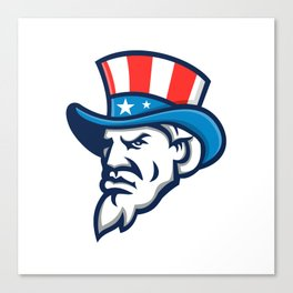 Uncle Sam Wearing USA Top Hat Mascot Canvas Print