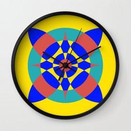 Flower Circles on Yellow Wall Clock