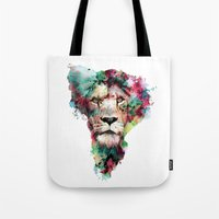 king Tote Bags featuring THE KING by RIZA PEKER