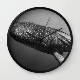 Whale shark black white Wall Clock
