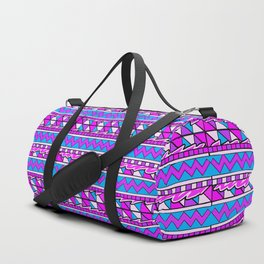 Latin American Pattern Pink Purple Blue. Funky Art. Colourful Pattern Duffle Bag
