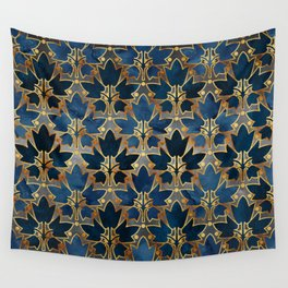 Abstract Leaves Pattern (copper& prussian blue) Wall Tapestry
