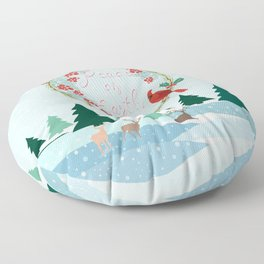 Winter Landscape Peace on Earth Floor Pillow