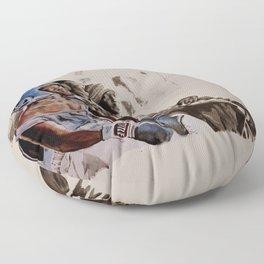 BRONX BOXING BOYS - sepia/blue version Floor Pillow