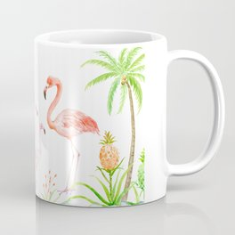 Watercolor flamingo family art print Coffee Mug