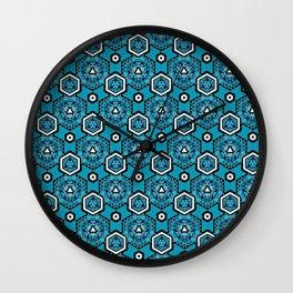 Cerulean Blue Geometric Pattern Design Wall Clock