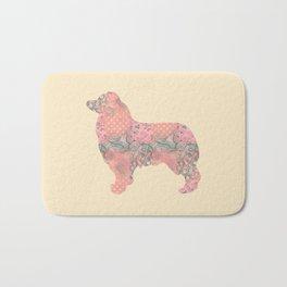 Australian Shepherd Vintage Floral Pattern Shabby Chic Pink Peach Salmon Teal Cream Bath Mat