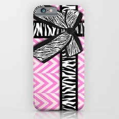 Girly zebra ribbon & bow, pink chevron stripes Slim Case iPhone 6s