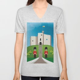 Cardiff, Wales - Skyline Illustration by Loose Petals Unisex V-Neck