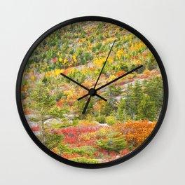 Fall coloor on Cadillac Mountain, Acadia National Park, Maine Wall Clock
