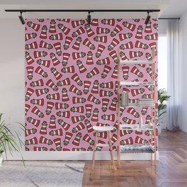 Kawaii Lighthouses on Sweet Pink Background Wall Mural