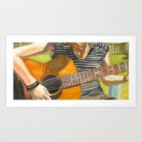 Backyard Guitar Art Print