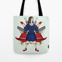 peggy carter Tote Bags featuring Fight like a Girl - Peggy Carter by HayPaige