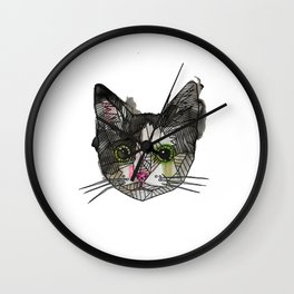 Geometric Rescue Cat Wall Clock