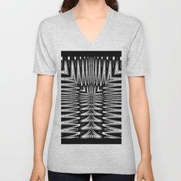 Geometric Black and White Traditional Tribal Pattern Unisex V-Neck