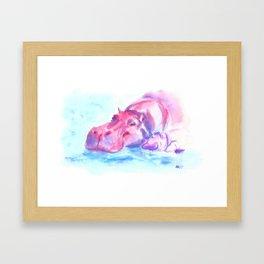 Hippo love Framed Art Print