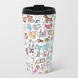Winter Animals with Scarves Doodle Travel Mug