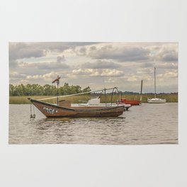 Fishing and Sailboats at Santa Lucia River in Montevideo, Uruguay Rug