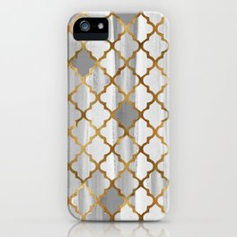 Moroccan Tile Pattern In Grey And Gold iPhone Case