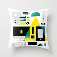 kit king Throw Pillows featuring Designer's Kit by koivo