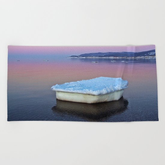 Ice Raft on the Sea Beach Towel