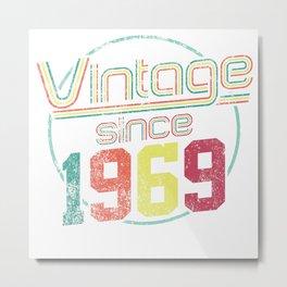 Vintage Retro Born Birth 1969 50th Birthday Gift Metal Print