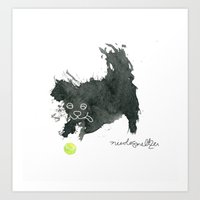 Scruffy Black Dog and a Tennis Ball Art Print