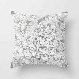 Queen Anne's Lace Flower in Soft Sepia Tones Throw Pillow