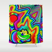 trippy Shower Curtains featuring Trippy Chesire by Illuminit Conceptions